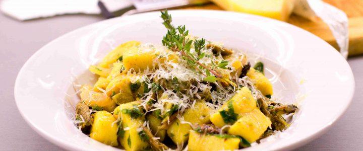 Gnocchi s houbami a pancettou