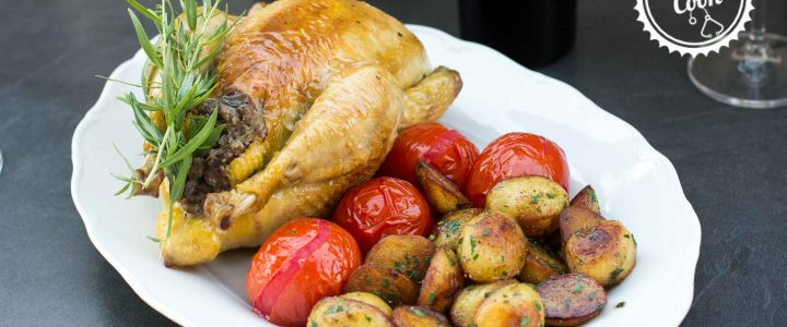 Nadívané kuře pečené v hrnci na estragonu